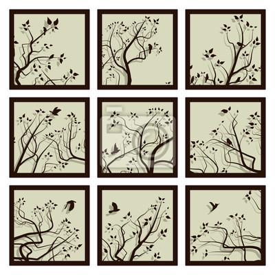 Iconos cuadrados resumen enmarcado ramas de los árboles y multitud ...