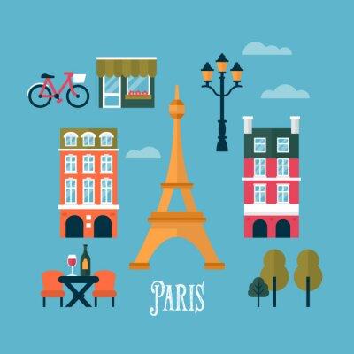 Vinilo Iconos elegantes Piso en París, Francia. Viajes y turismo infogra