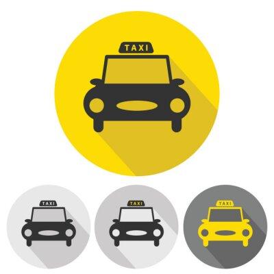 Vinilo iconos planos del coche del taxi establecen