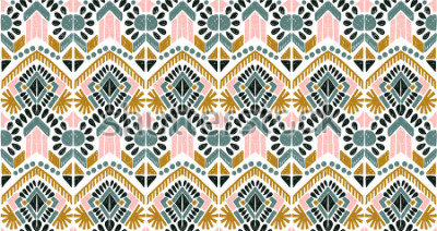 Vinilo Ikat geometric folklore ornament. Tribal ethnic vector texture. Seamless striped  pattern in Aztec style. Figure tribal  embroidery. Indian, Scandinavian, Gypsy, Mexican, folk pattern.