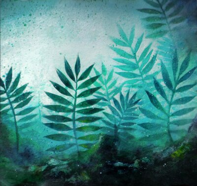 Vinilo Illustration of a tropical forest landscape with plants in acrylic painting