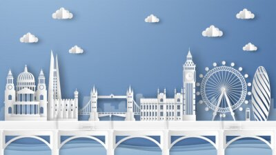 Vinilo Illustration of city scene with famous architectures in London, England. Elements of London city, England. London city scene of England. paper cut and craft style. vector, illustration.