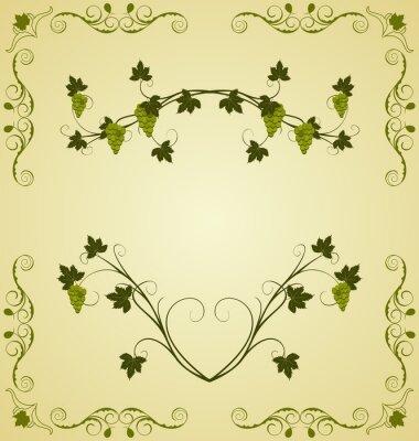 Vinilo Illustration the grape twig ornate