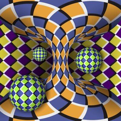Vinilo Ilusión óptica de rotación de tres bolas alrededor de un hiperboloide en movimiento. Fondo abstracto.