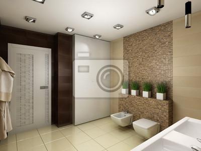 Ilustración 3d del cuarto de baño en tonos marrones vinilos ...