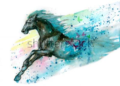 Vinilo Ilustración acuarela de caballo. Dibujado a mano
