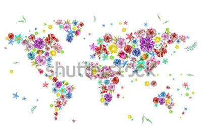 Vinilo Ilustración acuarela de mapa del mundo en flores