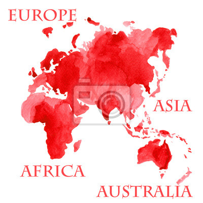 Vinilo Ilustración acuarela de partes del mapa mundial como Europa, Asia, África y Australia pintadas en tinta roja