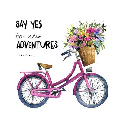 Vinilo Ilustración acuarela de una bicicleta con flores