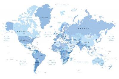 Vinilo Ilustración colorida de un mapa del mundo que muestra nombres de países, nombres de estados (EE. UU. Y Australia), capitales, lagos principales y océanos. Imprima a no menos de 36