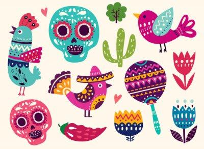 Vinilo Ilustración con símbolos de México