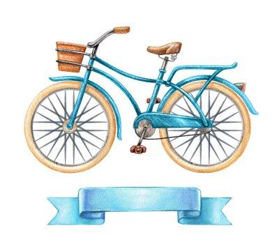 Vinilo Ilustración de acuarela, bicicleta azul, bicicleta retro, etiqueta de cinta en blanco, banner, clip de transporte de imágenes prediseñadas aisladas sobre fondo blanco