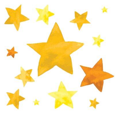 Vinilo Ilustración de acuarela de estrellas amarillas