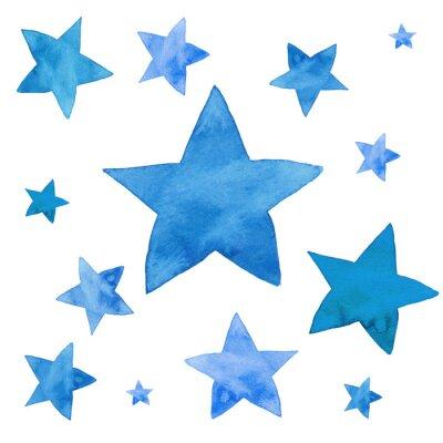 Vinilo Ilustración de acuarela de estrellas azules