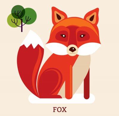 Vinilo Ilustración de dibujos animados con lindo zorro