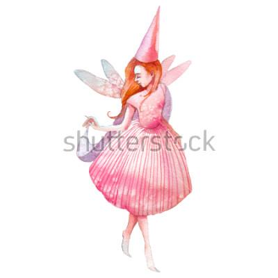 Vinilo Ilustración de hadas acuarela. Carácter pintado a mano del cuento de hadas aislado en el fondo blanco. Chica de dibujo animado con alas de arte