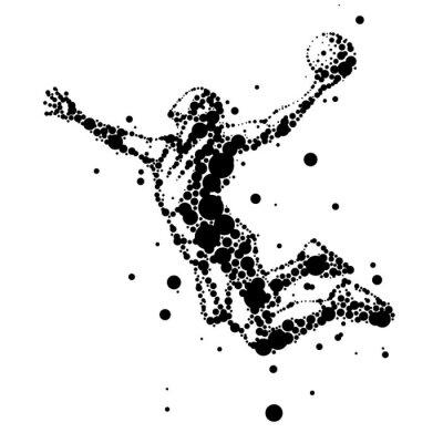 Vinilo ilustración de jugador de baloncesto resumen en salto