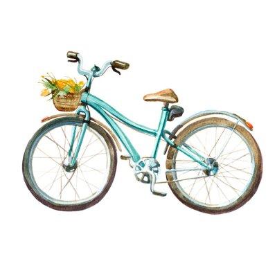 Vinilo Ilustración de la acuarela. Bicicleta de la menta de la muchacha con la cesta llena de flores amarillas.