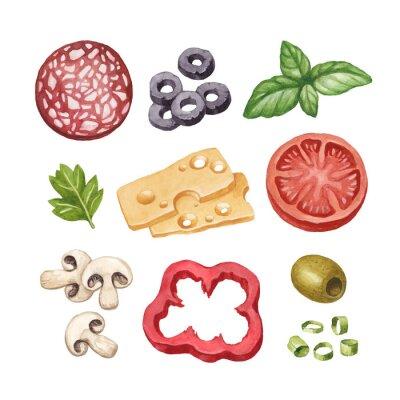 Vinilo Ilustración de la acuarela de los ingredientes alimentarios