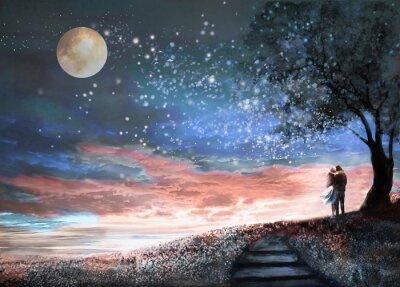 Vinilo Ilustración de la fantasía con el cielo nocturno y MilkyWay, estrellas de la luna. Mujer y hombre bajo un árbol que mira el paisaje del espacio. Prado floral y escaleras. Pintura.