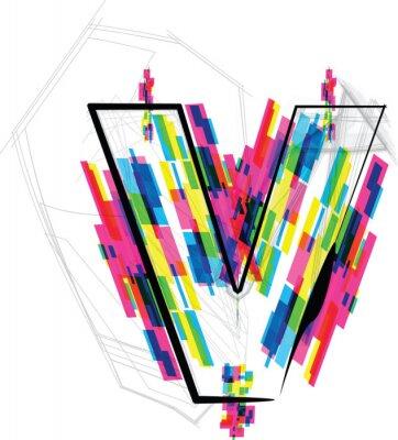 Vinilo Ilustración de la fuente. Letra V. Ilustración vectorial