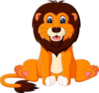 Vinilo Ilustración de la historieta linda del león del bebé
