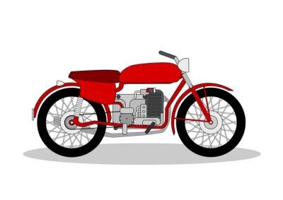 Vinilo Ilustración de la moto de la vendimia en blanco