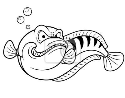 Ilustración de peces cabeza de serpiente gigante - libro para ...