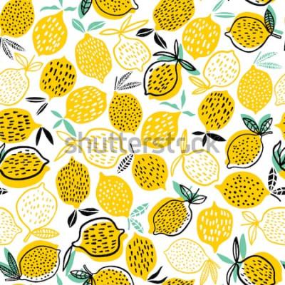 Vinilo Ilustración de vector de limón de patrones sin fisuras Diseño de verano