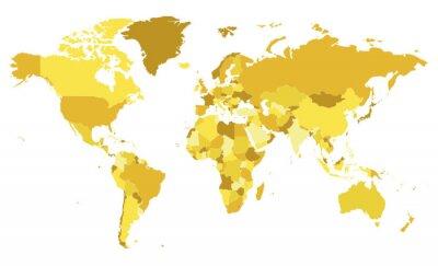 Vinilo Ilustración de vector de mapa del mundo en blanco político con diferentes tonos de amarillo para cada país. Capas editables y claramente etiquetadas.