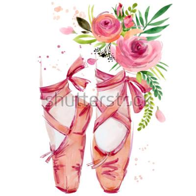 Vinilo Ilustración de zapatillas de ballet acuarela
