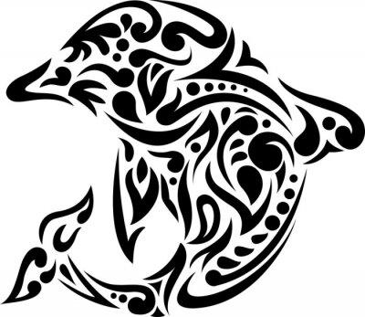 Vinilo Ilustración del arte del tatuaje del delfín