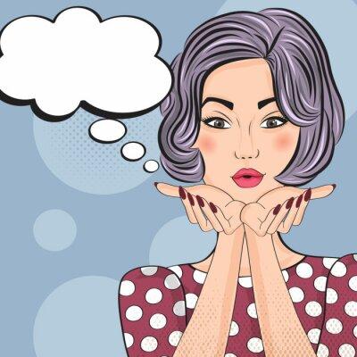 Vinilo Ilustración del arte pop de la muchacha con la burbuja del discurso