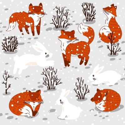 Vinilo Ilustración del invierno con zorros y conejito lindos.