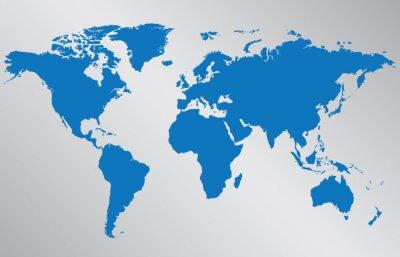 Vinilo Ilustración del mapa mundial sobre fondo gris