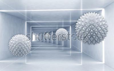 Vinilo Ilustración del modelo de la bola de cristal 3D en el papel pintado de plata decorativo del fondo 3D. Arte grafico moderno