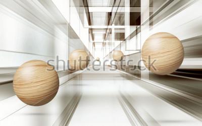 Vinilo Ilustración del modelo de la esfera del marrón 3D en el papel pintado decorativo del fondo 3D. Arte grafico moderno