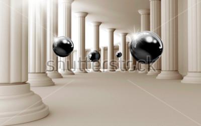 Vinilo Ilustración del modelo negro de la bola 3D en el papel pintado decorativo del fondo 3D. Arte grafico moderno