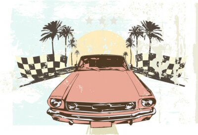 Vinilo Ilustración del vector - coche de carreras de alta velocidad en el fondo del grunge