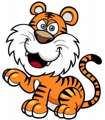 Vinilo Ilustración del vector de la historieta del tigre