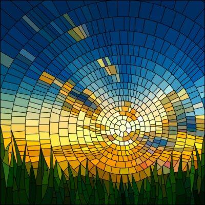 Vinilo Ilustración del vector de la puesta del sol en el césped.