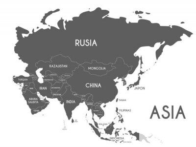 Vinilo Ilustración del vector del mapa político de Asia aislada en el fondo blanco con nombres de país en español. Capas editables y claramente etiquetadas.