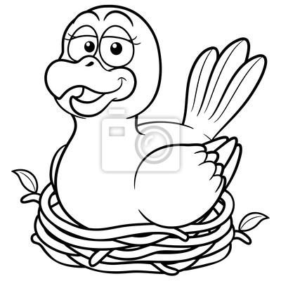 Ilustración Del Vector Del Pájaro En Un Nido Libro Para Colorear