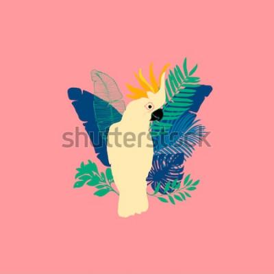 Vinilo Ilustración del vector - loro cacatúa, aves exóticas, flores tropicales, hojas de palma, ave del paraíso