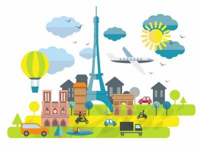 Vinilo Ilustración Diseño plano con la torre Eiffel en París Ciudad