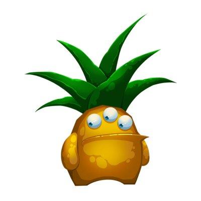 Vinilo Ilustración: El fantástico Bosque Pineapple monstruo aislado sobre fondo blanco. Carácter fantástico realista del estilo de la historieta / monstruo / diseño de la criatura.