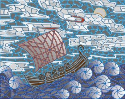 Vinilo Ilustración en el estilo del vitral con la nave antigua contra el mar, el cielo y el sol