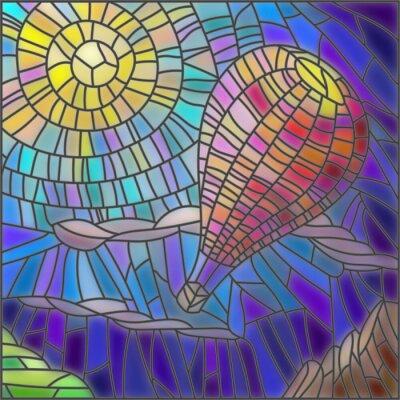 Vinilo Ilustración en estilo de vidrio manchado globo de aire caliente sobre fondo de cielo y el sol