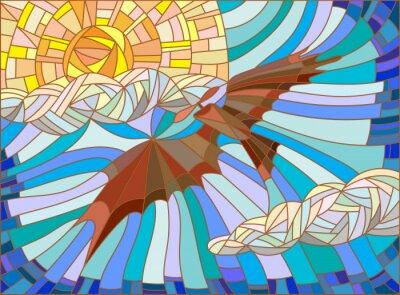 Vinilo Ilustración en estilo vitral con aviones vintage en el cielo, las nubes y el sol