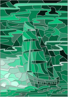 Vinilo Ilustración en estilo vitral con el velero contra el cielo, el mar y el sol poniente.Green versión